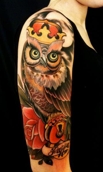 Shoulder Arm Owl Tattoo by Dalmiro Tattoo