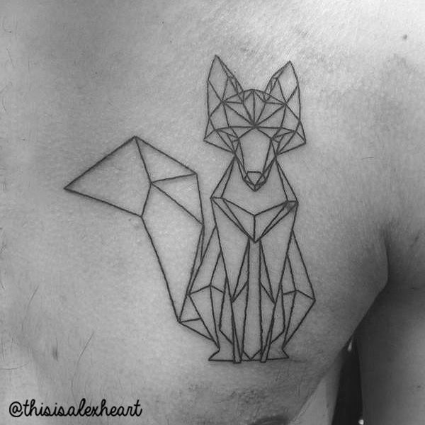Chest Fox Abstract Tattoo by Alex Heart