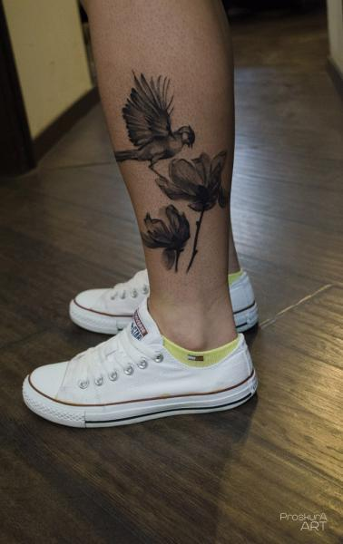 Flower Ankle Bird Tattoo by Proskura Art