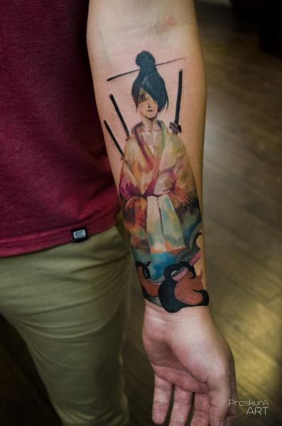 Arm Geisha Tattoo von Proskura Art