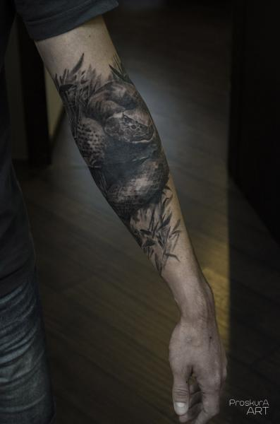 Arm Realistic Snake Tattoo by Proskura Art