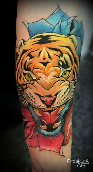 Arm Tiger Tattoo von Proskura Art