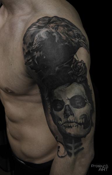 Shoulder Arm Skull Crow Tattoo by Proskura Art