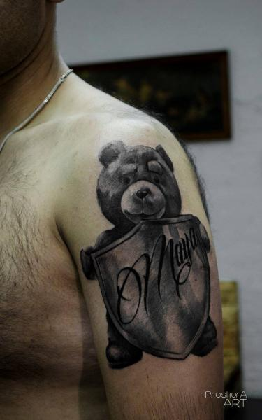 Shoulder Bear Shell Tattoo by Proskura Art