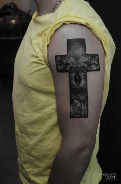 Shoulder Cross Tattoo by Proskura Art