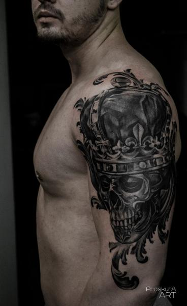 Shoulder Skull Crown Tattoo by Proskura Art