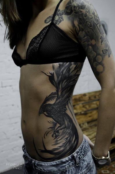 Side Phoenix Tattoo by Proskura Art