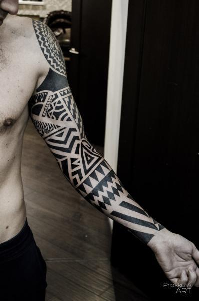 Tribal Sleeve Tattoo by Proskura Art