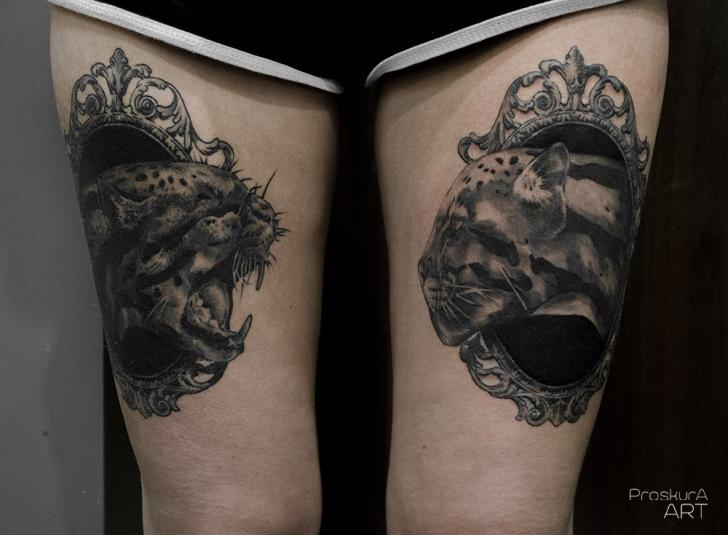 Panther Medallion Thigh Tattoo by Proskura Art
