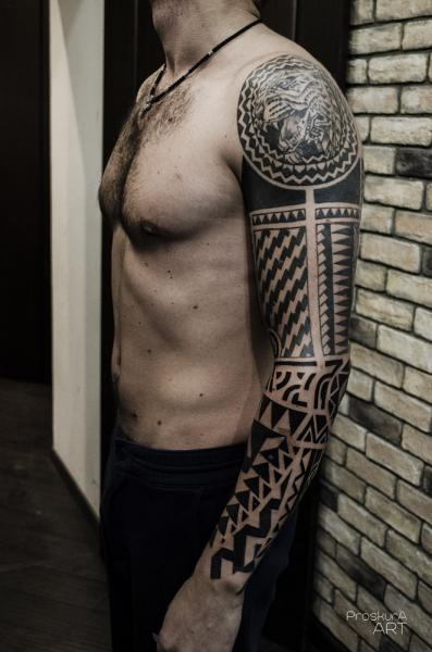 Tribal Sleeve Tattoo by Proskura Art