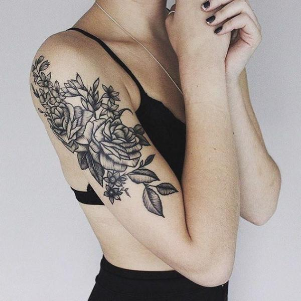 Shoulder Arm Flower Tattoo by Parliament Tattoo