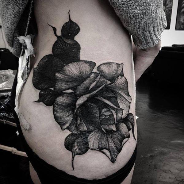 Flower Side Tattoo by Parliament Tattoo