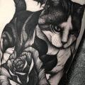 Flower Cat Thigh tattoo by Parliament Tattoo