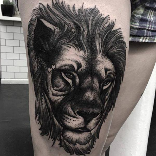 Lion Thigh Tattoo by Parliament Tattoo