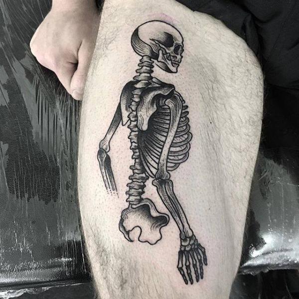 Skeleton Thigh Tattoo by Parliament Tattoo
