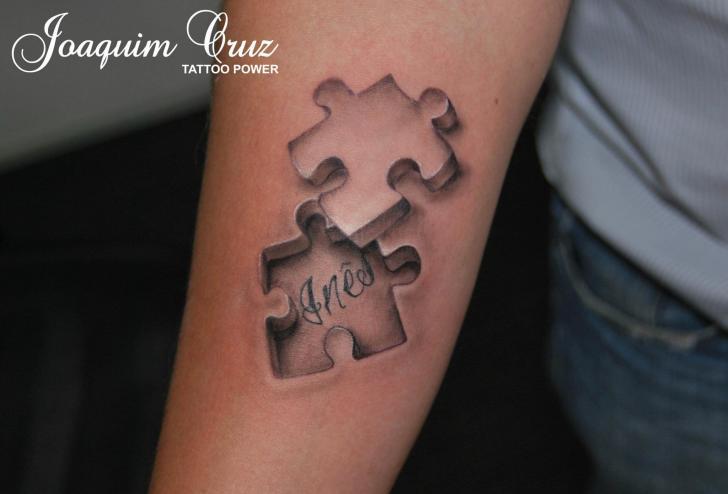Tatuaggio Braccio Puzzle 3d di Tattoo Power