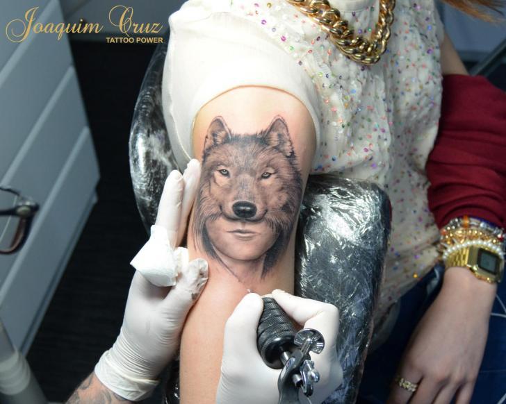 Arm Wolf Woman Tattoo by Tattoo Power