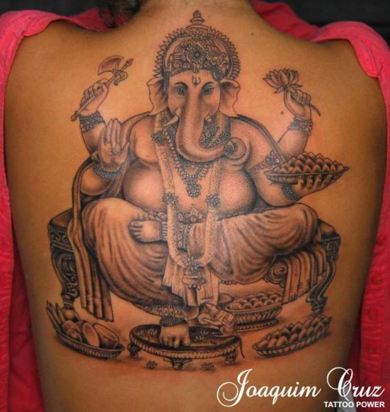 Back Religious Ganesh Tattoo by Tattoo Power