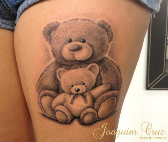 Bear Thigh Puppet Tattoo by Tattoo Power