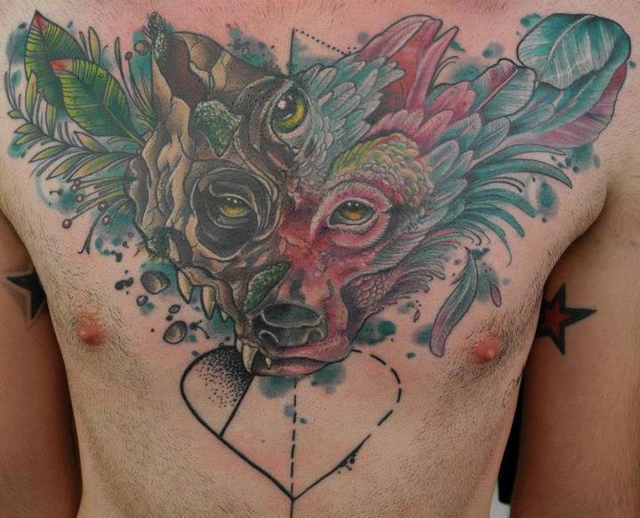 Chest Wolf Tattoo By Freibeuter Tattoo