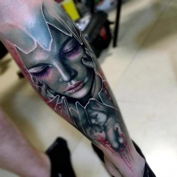 Calf Woman Tattoo by Sam Barber