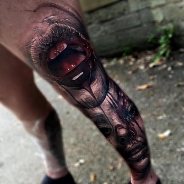 Leg Thigh Blood Woman Tattoo by Sam Barber