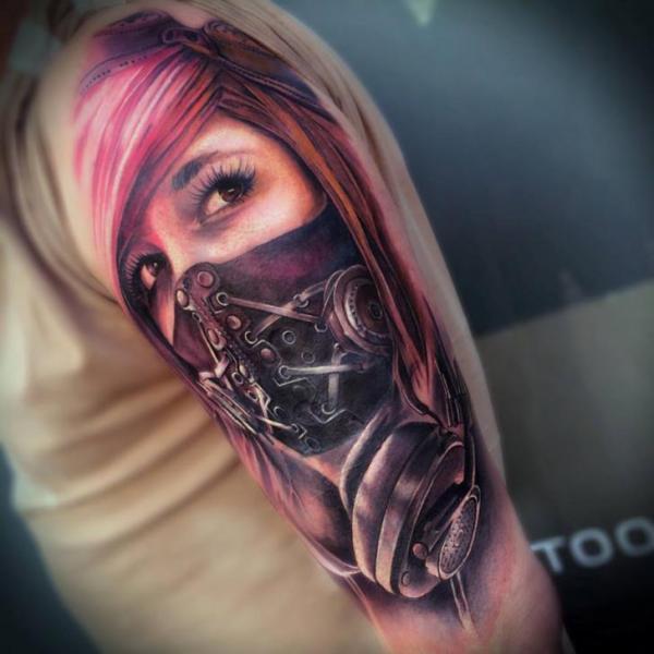 Shoulder Mask Woman Tattoo by Sam Barber