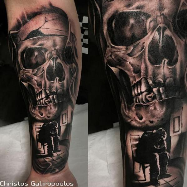 Arm Skull Tattoo by El Loco Tattoo Lounge