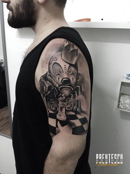 Shoulder Clown Chess Tattoo by El Loco Tattoo Lounge