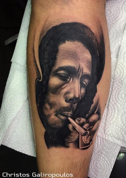 Portrait Realistic Bob Marley Thigh Tattoo by El Loco Tattoo Lounge