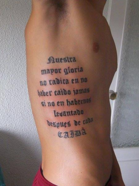 Side Lettering Tattoo by Hannibal Uriona