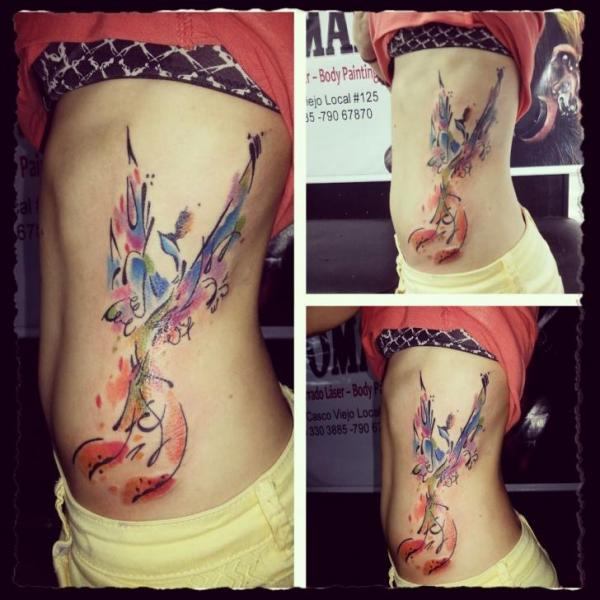 Side Phoenix Water Color Tattoo by Hannibal Uriona