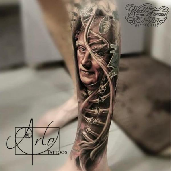 Portrait Leg DNA Tattoo by The Raw Canvas