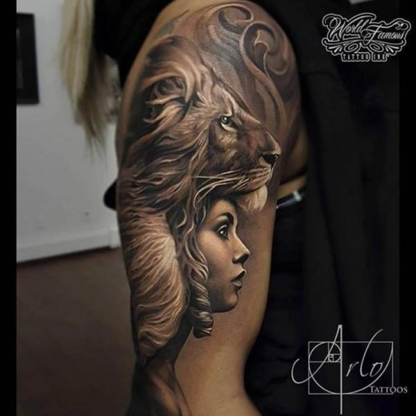 Shoulder Lion Woman Tattoo By The Raw Canvas