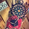 Arm Old School Rose Compass tattoo by Solid Heart Tattoo