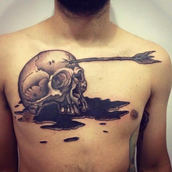 Chest Skull Tattoo by Solid Heart Tattoo