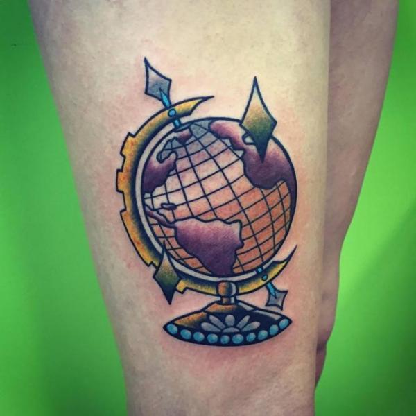 New School Leg World Tattoo by Solid Heart Tattoo