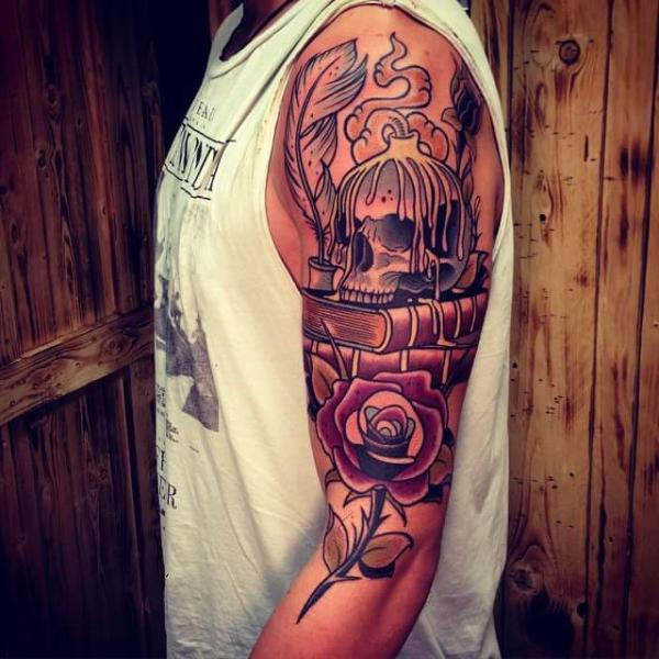 New School Flower Skull Rose Candle Tattoo by Solid Heart Tattoo