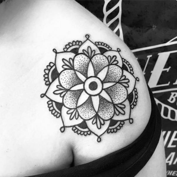 Shoulder Mandala Tattoo by Solid Heart Tattoo