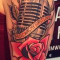 Shoulder New School Flower Microphone Rose tattoo by Solid Heart Tattoo
