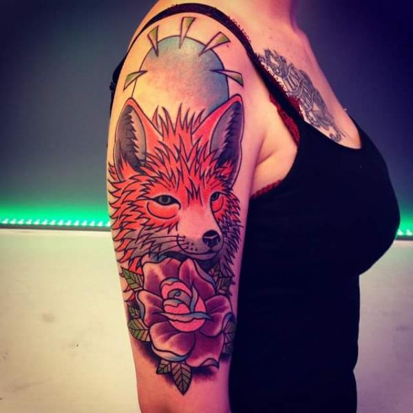 Shoulder New School Flower Wolf Tattoo by Solid Heart Tattoo