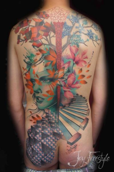 Women Back Butt Tree Abstract Tattoo by Jay Freestyle