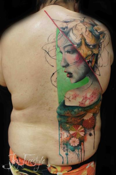 Back Demon Geisha Tattoo by Jay Freestyle
