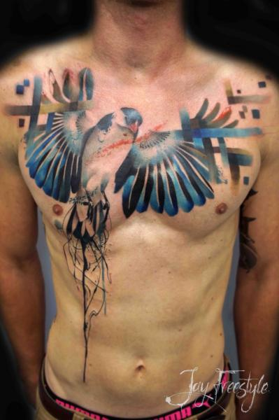 Realistic Chest Bird Tattoo by Jay Freestyle