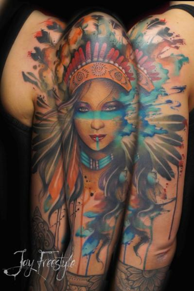 Shoulder Portrait Indian Sleeve Tattoo by Jay Freestyle