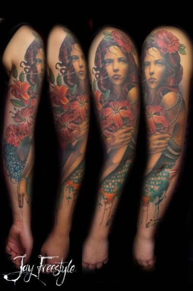 Portrait Realistic Women Sleeve Tattoo by Jay Freestyle