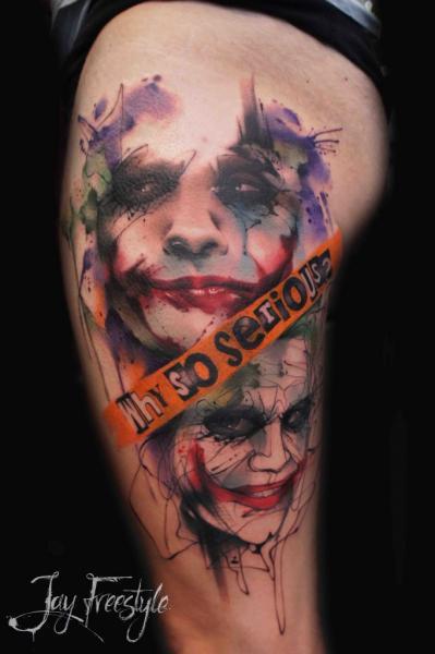 Tatuaggio Joker Coscia Acquarello di Jay Freestyle