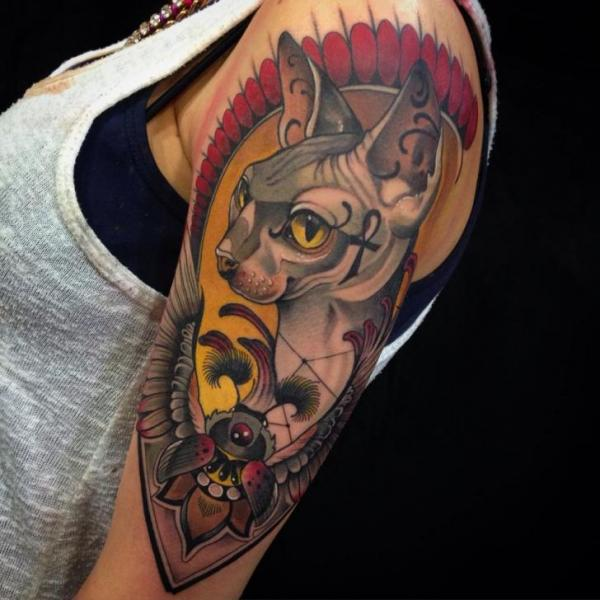Shoulder Arm New School Cat Tattoo by Blessed Tattoo
