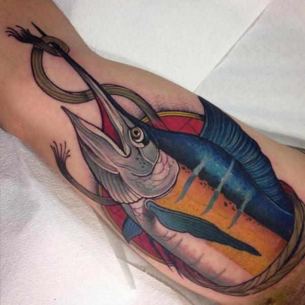 Arm Swordfish Tattoo by Blessed Tattoo