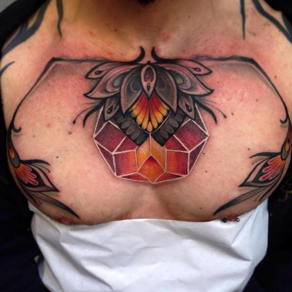 Chest Decoration Tattoo by Blessed Tattoo